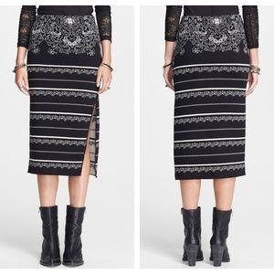 FREE PEOPLE Black Jacquard Knit Midi Pencil Skirt